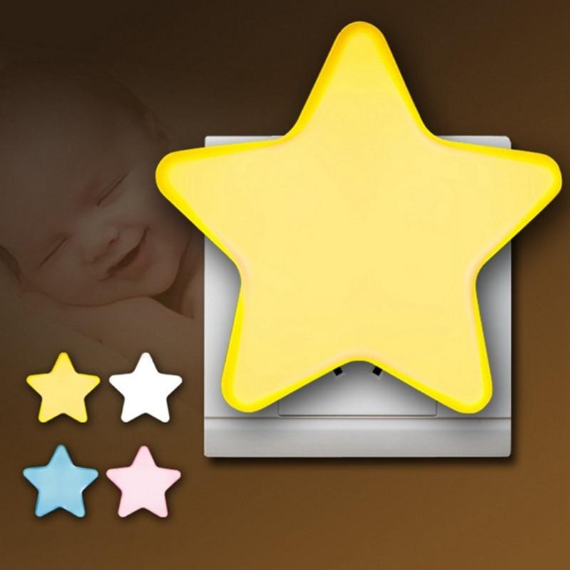 LED Plug-in Night Light Light Sensor Controlled EU US Plug LED Night Lights Pentagram Shaped Lamp Take Good Care Children Sleep