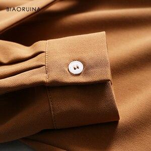 Image 5 - BIAORUINA נשים מוצק אלגנטי ארוך חולצה שמלת אמצע עגל אורך נקבה מקרית צד פיצול שמלת נשים של בציר אונליין שמלה