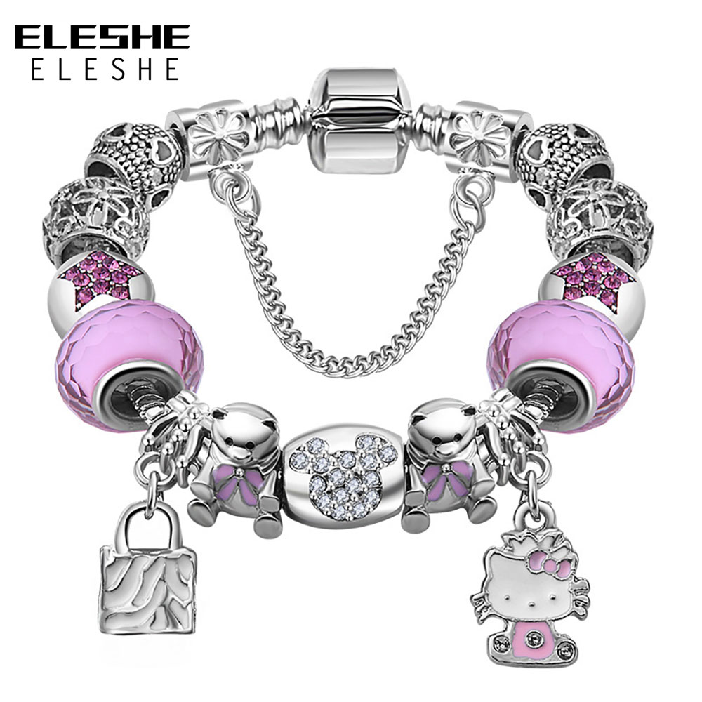 ELESHE Cute Children Charms Armbånd Bangle for Kids Girl Murano - Mote smykker - Bilde 2