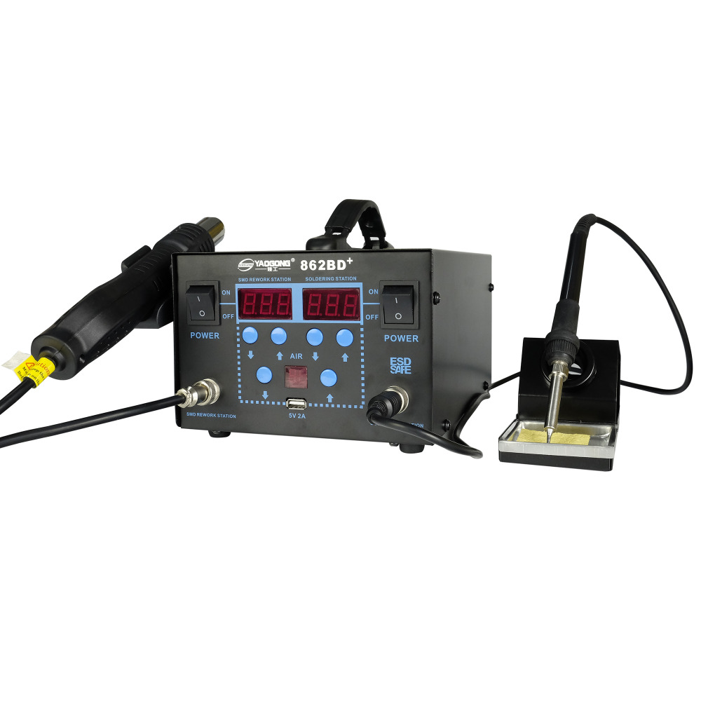YAOGONG New 862d 2 In 1 Hot Air SMD Digital Variable Soldering Rework Station Kit For Phone Computer Pcb Repair
