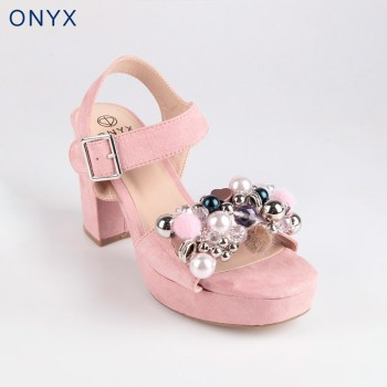 Wide ONYX pink high-heeled Sandals
