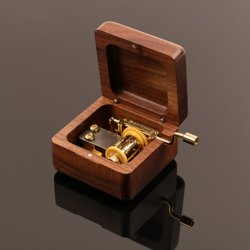 Black walnut music box maple wood box hand shake music box private music box custom diy production
