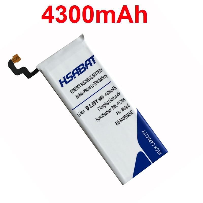 imágenes para HSABAT envío de la Nueva 4300 mAh Batería para Samsung GALAXY Note 5 Batería N9200 EB-BN920ABE N920t Proyecto Noble Batería
