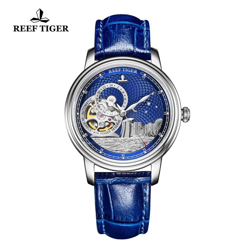 Reef Tiger/RT 2019 Luxury Fashion Watch for Women Men Blue Tourbillon Automatic Watch Leather Unisex Watches Clock Reloj RGA1739Reef Tiger/RT 2019 Luxury Fashion Watch for Women Men Blue Tourbillon Automatic Watch Leather Unisex Watches Clock Reloj RGA1739