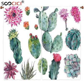 Window Curtains Treatments 2 Panels,Nature Decor Desert Botanic Herbal Cartoon like Cactus Plant Flower with Spikes Print Green