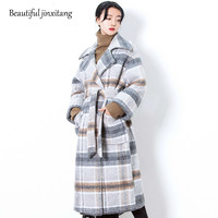 Autumn Spring 2018 Fashion Elegant Temperament Pattern Plaid Turn Down Collar Long Sleeve Double Breasted Keep