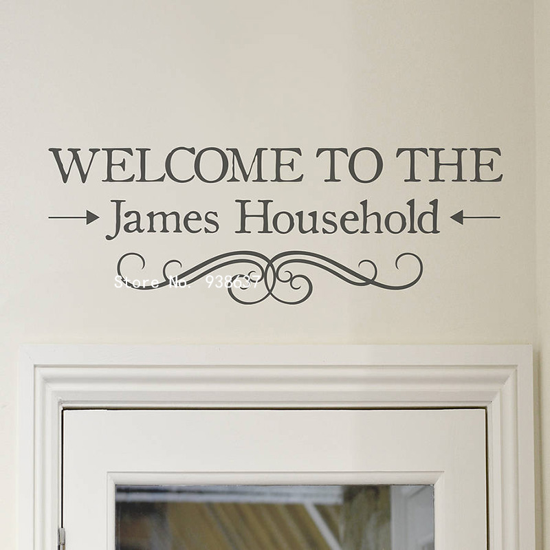 Welcome Personalised Vinyl Wall Sticker Home Decor Hallway - Wall decals hallway