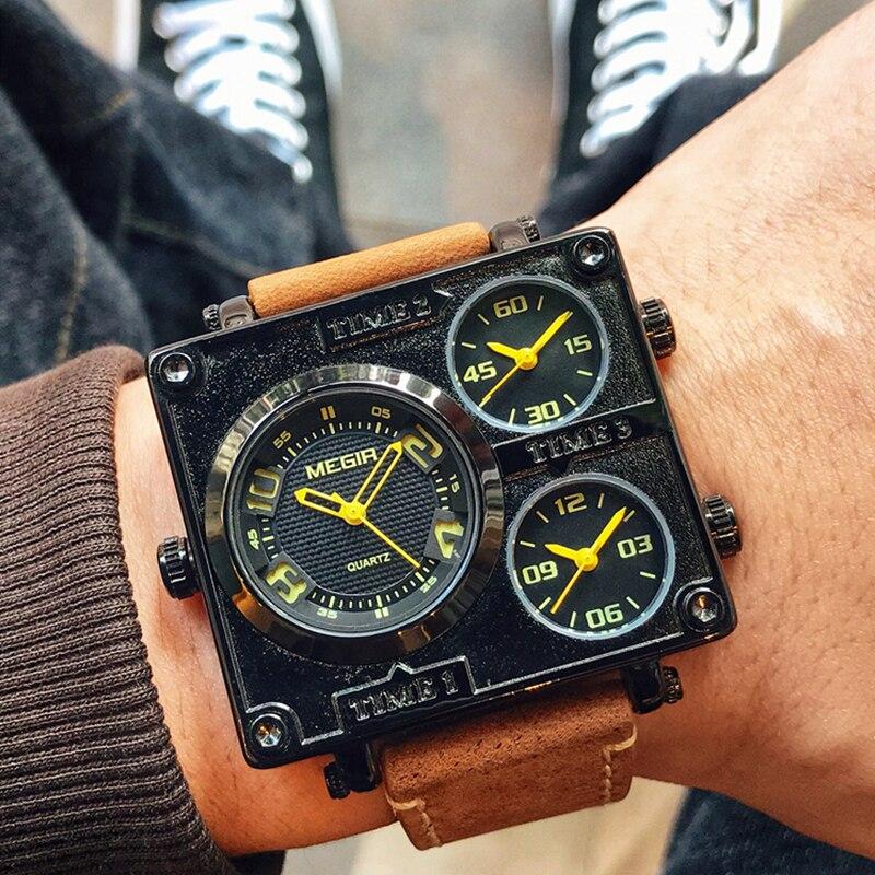 MEGIR Men's Square Quartz Watch Brand Creative Multi Time Zone Dial Clock Army Sports Wristwatches Men Relogios Masculino 2019
