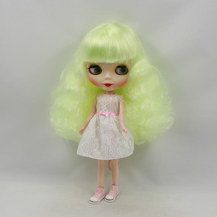 Blyth doll nude 12 inch fashion dolls yellow-green bangs long hair mini dolls for girls gifts