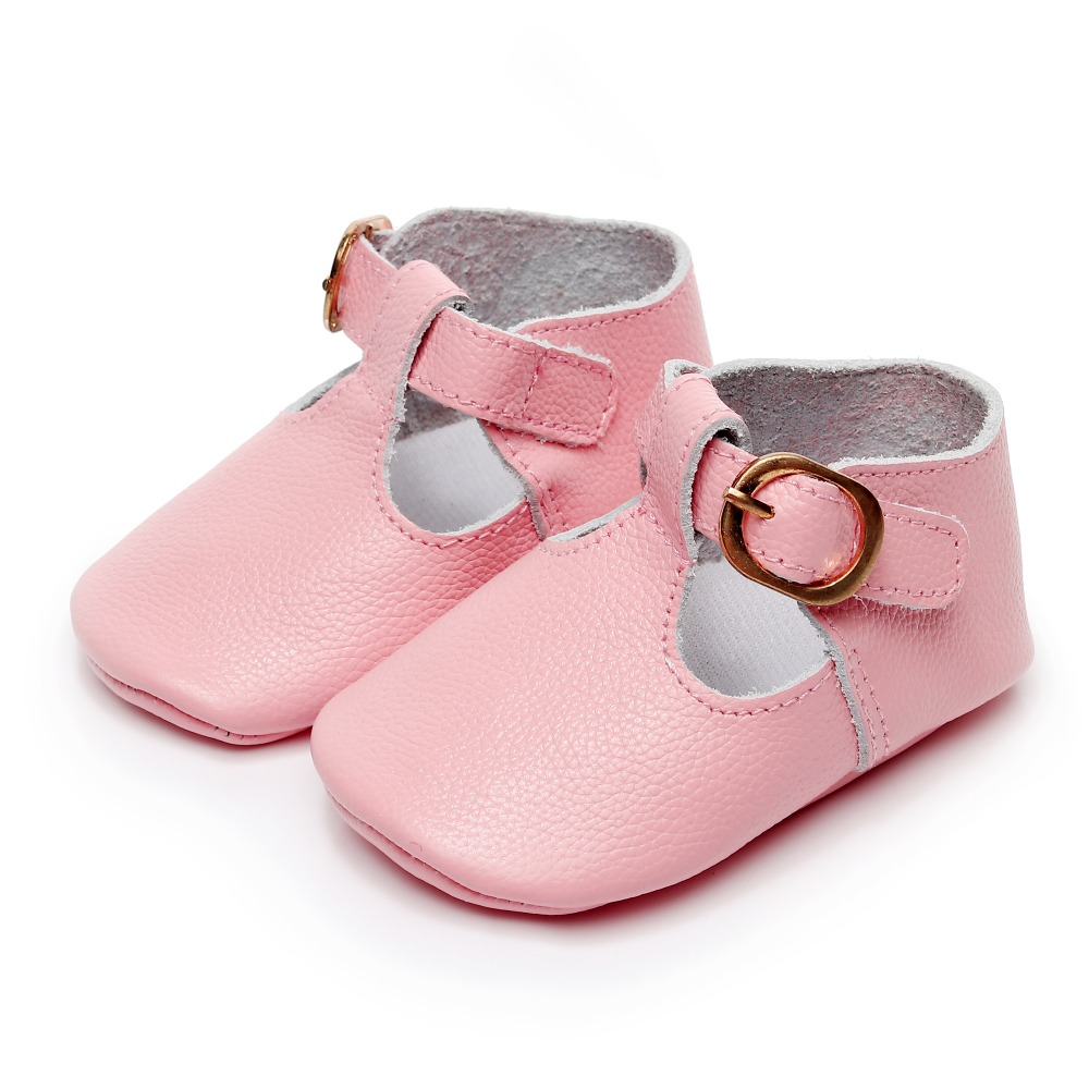 ROMIRUS New Mary Jane Baby Girl Shoes First Walkers Genuine Leather Soft Bottom Ballet Shoes Pink Buckle Toddler Shoes 0-18 M