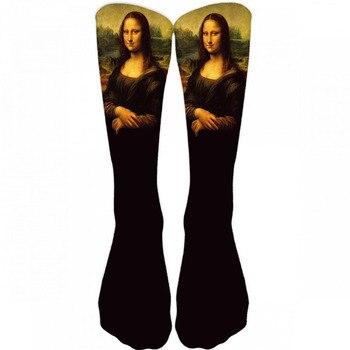 New Hot Men's Oil Painting Mona Lisa Socks Fashion Hipster Van Gogh Art Socks Women Funny Socks Long Cool Fashion Novel Socks 9Z поло van hipster van hipster va021emcauu6