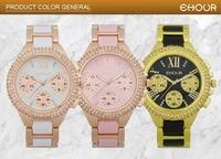 New Arrival EHOUR Platinum 3 Wiersz Rhinestone Chrono Promocja Kobiety Dress Watch