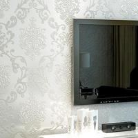 5 m * 0.35 m Adamaszku tapety srebrny liść przewijania adamaszek rolka papieru winylu tle ściany tapety sypialnia salon wystrój #25