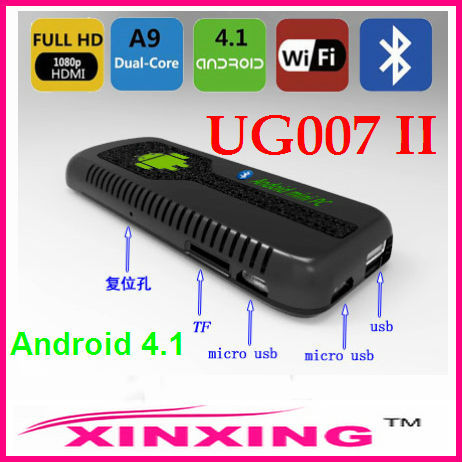 [Factory In Stock] Newest! UG007 II Mini PC Android 4.1 TV Box Dual Core Cortex A9 WiFi HDMI DDR3 1GB 8GB Flash 3D Free shipping