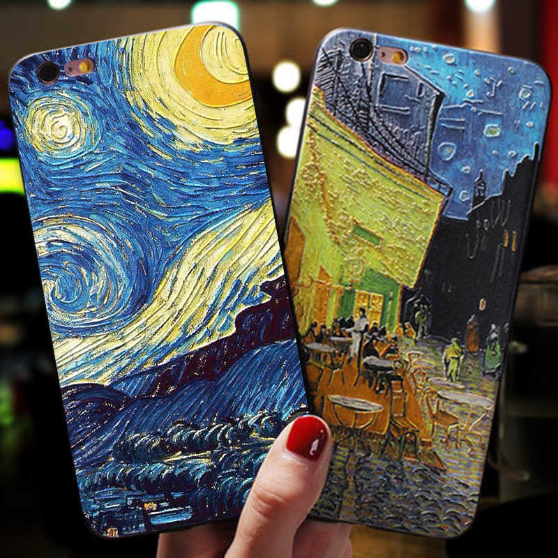 3D Relief Van Gogh Schilderij Case Voor Iphone 7 8 Plus Xs 11 Pro Max Xr Emboss Telefoon Case Voor iphone X 6 6S Plus 5 5S Se Tpu Cover