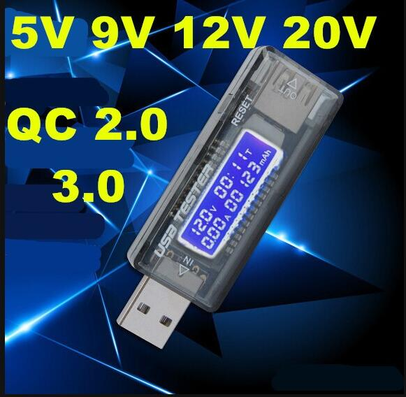 Carregador de Tensão Medidor de Energia v qc 2.0 3.0 Oled Capacidade Atual Tester Carregador Texto Médico Voltímetro 7% Off Usb 20 12 9 5