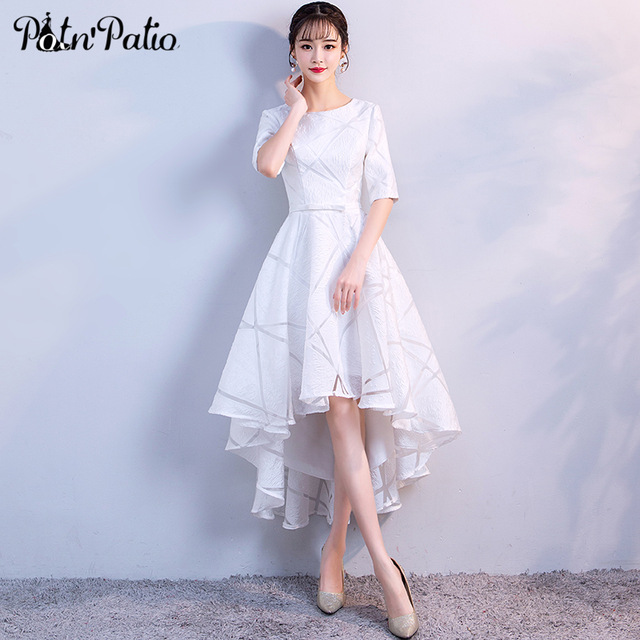 Elegant White High Low Dress with Half-Sleeve O-Neck Tulle Formal Dress  Short Front Long Back Prom Gown Evening Party Dress 2018 a03eb1aa106e