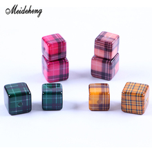 10pcs/bag Jewelry Accessories Acrylic Scottish Tartan Square bead Smooth Surface Bracelet Necklace Hair Ornament Women's Gifts