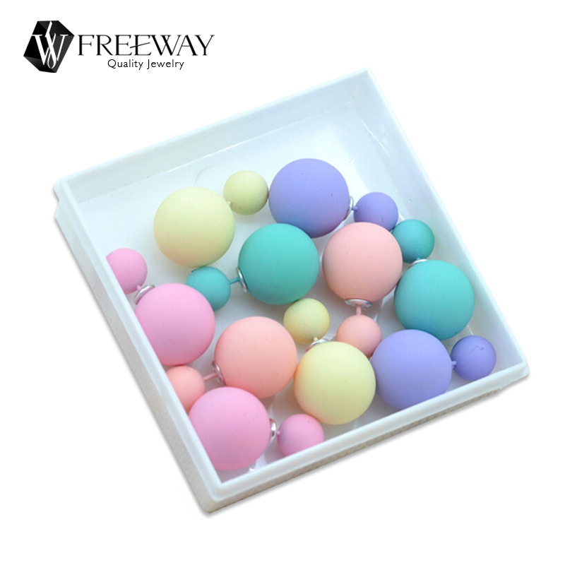 Stud Earrings: 5pair/lot 2016 Fashion Jewelry Women Earrings Double Sided Matte Ball Simulated Pearl Stud Earrings For Women Set Girl Colorful