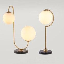 Nordic marmur płyta podstawowa stół światło nowoczesne minimalizm Lustre w stylu Art Deco matowego szkła doprowadziły lampy biurko do badania pokój