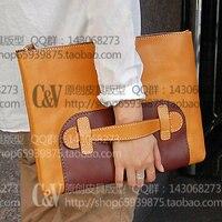 FAI DA TE fatti a mano in pelle borsa File di disegno drawing pacco non reale borsa hanno taglio preciso mark size37.5 * 27*2.5 cm [B-5027]