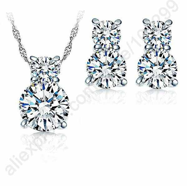 Cucurbit Charms Jewelry Sets Real Pure 925 Sterling Silver Cubic Zirconia Necklace Stud Earrings Women Jewellery Sets Hot