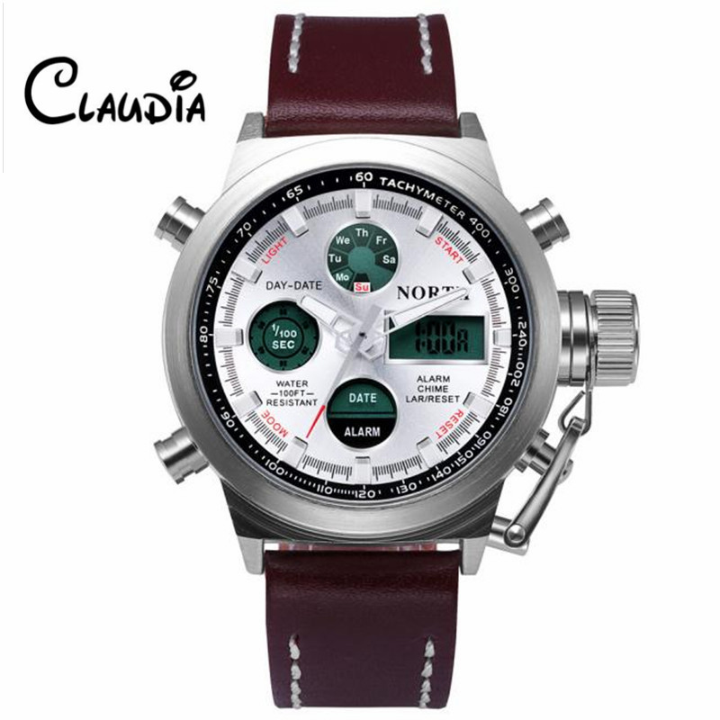 CLAUDIA Hot sale Dropship North Double Movement Quartz Wrist Watch Stainless Steel Bracelet Men Watch New Relogio Masculino smileomg hot sale fashion women crystal stainless steel analog quartz wrist watch bracelet free shipping christmas gift sep 5