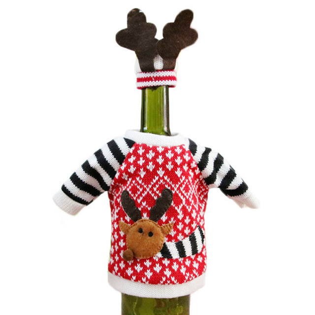 Red Wine Bottle Cover Christmas Decorations For Home 2019 Elk Wool Bags Decoration Home Party Supplies Christmas Decor