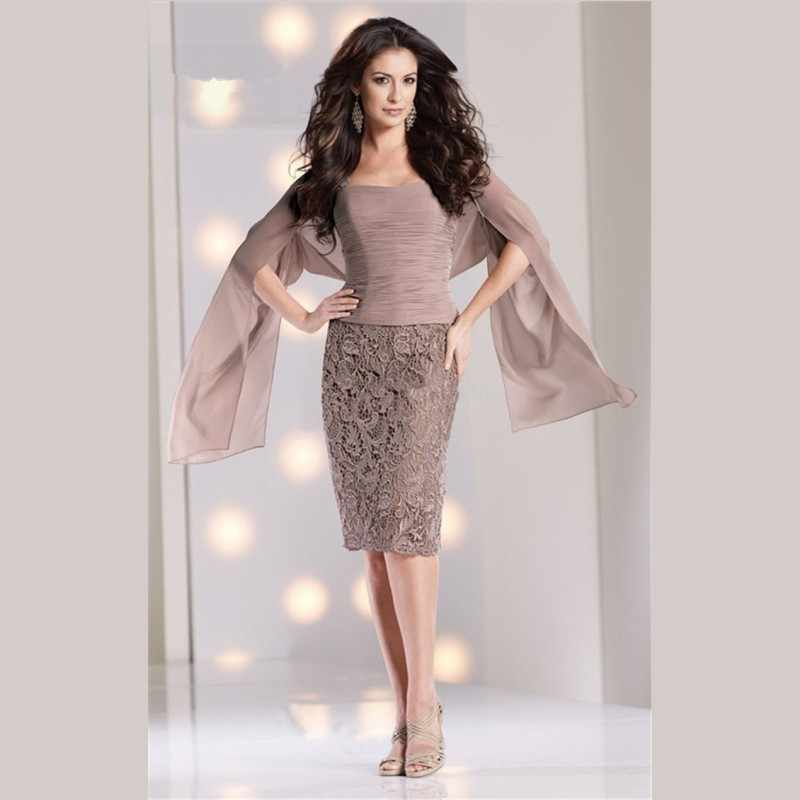 fashion elegant gray mother of the bride dress 2016 new 3 4 sleeves chiffon  lace 04f8a7232197