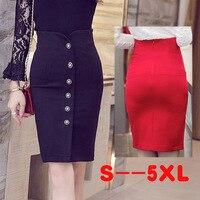 Femmes Taille Haute Jupes Crayon Rouge Noir Plus Taille S-5XL OL Work Wear Bureau Moulante Mince Breasted Fente Longueur Au Genou jupe