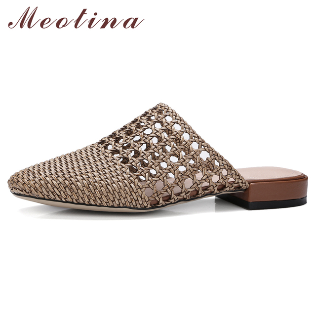 Meotina Women Slippers Summer Shoes Glitter Cutout Fashion Sandals Square  Toe Low Heel Shoes Lady Footwear Silver Big Size 33-43 afb98035cc80