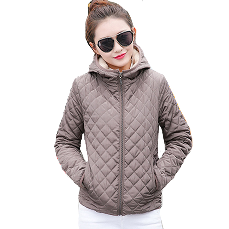 2019 solid black red short winter women   basic     jacket   autumn thin fleece hooded womens coat casual outerwear casaco feminino