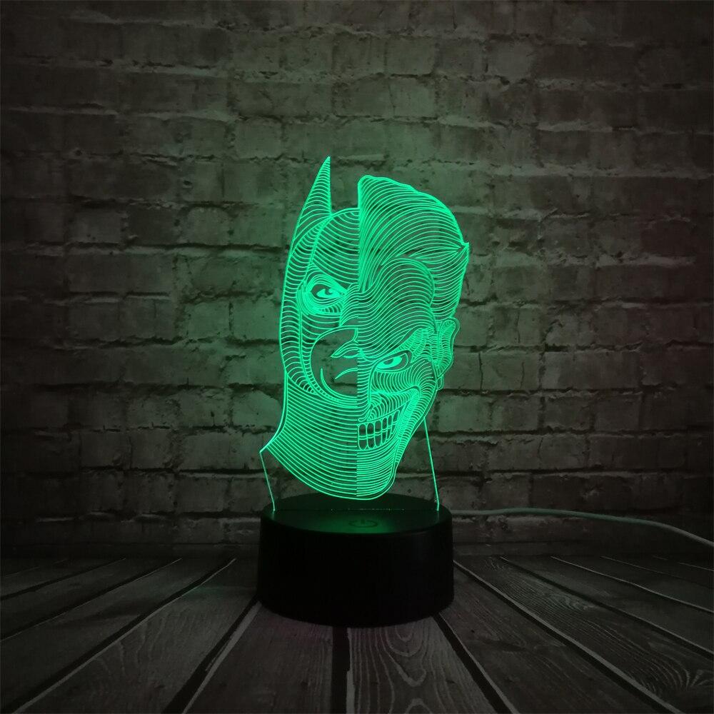 Novelty Pencahayaan Kartun Gambar 3d Lampu Keren Superhero Dua