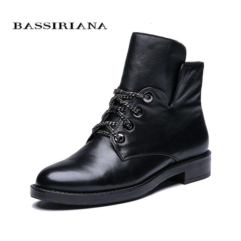 BASSIRIANA 2018 nuevo cuero genuino tobillo botas Zapatos Mujer primavera otoño redondo dedo del pie metálico cordones zip tacones cuadrados color negro