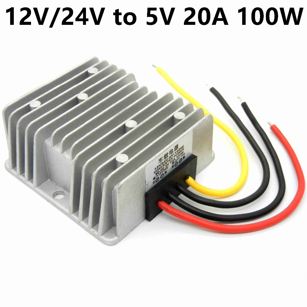 DC9V-36V 12V/24V to 5V 20A 100W Bus/ car Vehicle led display Power supply DC-DC Buck Converter Step Down Module waterproof jtron 03100655 dc 12v to 5v vehicle power converter w cable black