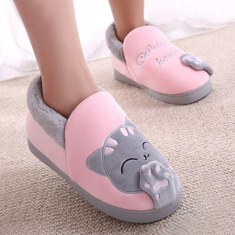 Women Slippers Winter Warm Plush House Slippers Embroidery Lovely Cat Home indoor Shoes Women Lovers Couples Zapatillas Mujer bow slippers women winter warm slippers ladies flats shoes women indoor home slippers home shoes for women zapatillas mujer 2018