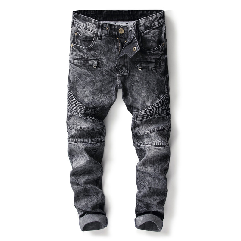 Mens ripped jeans slim fit denim pants snowflake gray jeans men pleated motorcycle biker jeans hip hop stretchy pants for man
