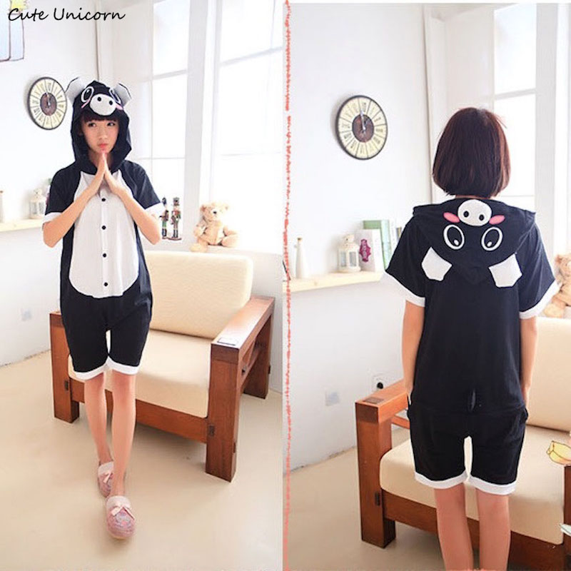 Cute Unicorn Black Pig Short Sleeve Animal Pajamas Summer Unisex Adult Cosplay Pijamas Cartoon Onesies mens homewear Pajama