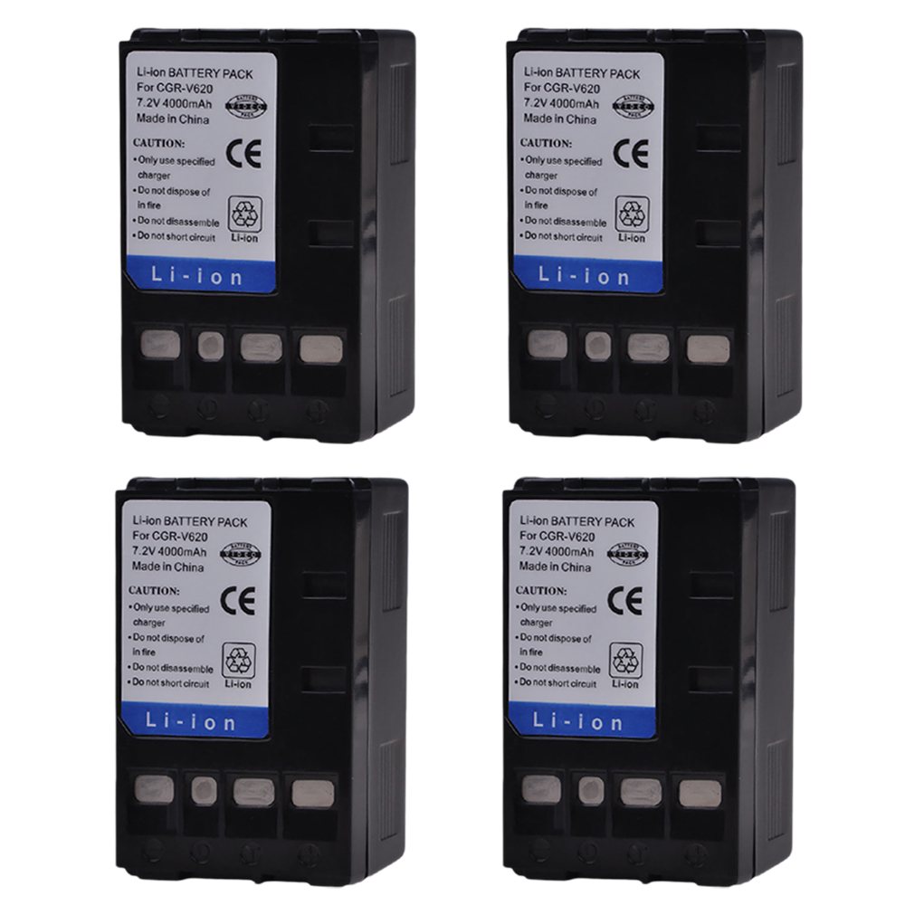 PowerTrust 4x 4000mAh CGR-V620 CGR-V14S CGR-V610 CGR-V26S Battery for Panasonic V610 V620 NV-RX14 NV-RX17 NV-<font><b>RX18</b></font> NV-RX24 Camera image