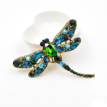 Dragonfly Shaped Brooches for Women with Crystal Decor