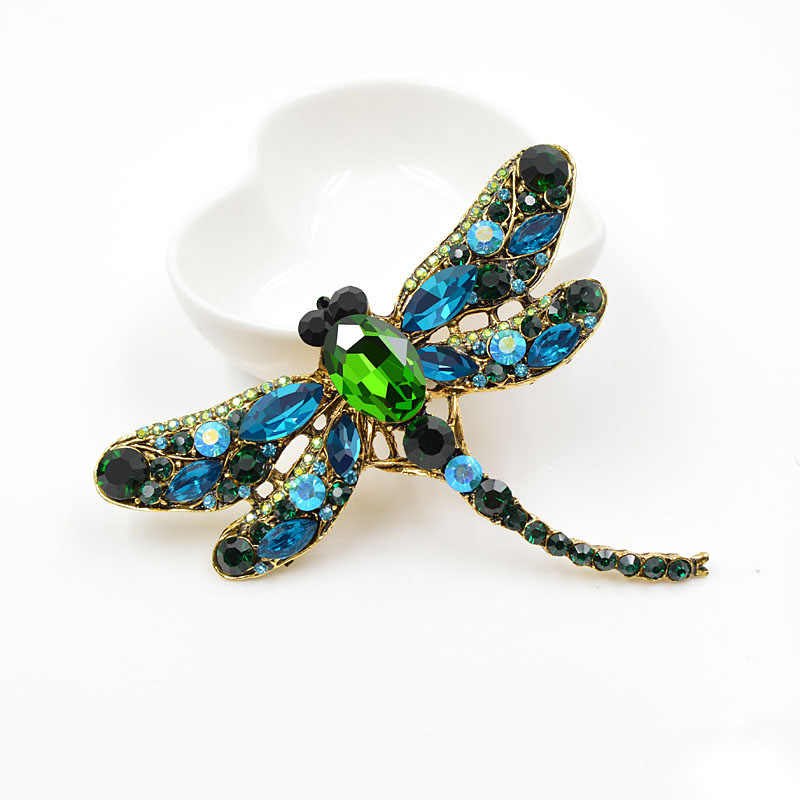Cindy Xiang Crystal Vintage Dragonfly Broches Voor Vrouwen Grote Insect Broche Pin Mode Jurk Jas Accessoires Leuke Sieraden