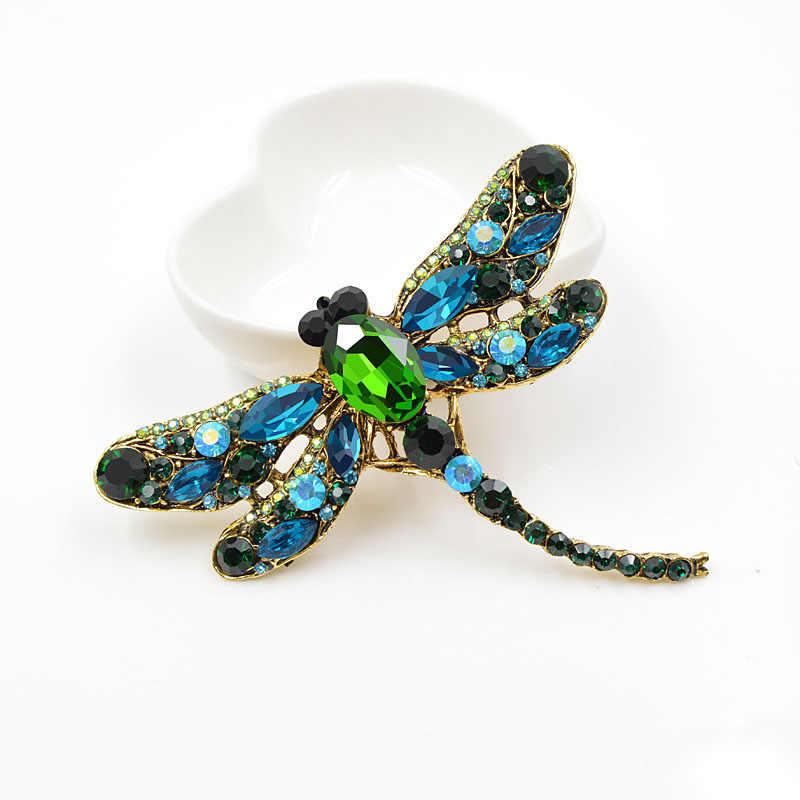 Cindy Xiang Crystal Vintage Dragonfly Bros untuk Wanita Serangga Besar Bros Pin Fashion Gaun Mantel Aksesoris Lucu Perhiasan