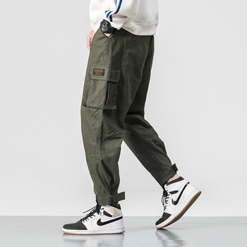 2019 Men Multi-pocket Elastic Waist Design Harem Pant Street Punk Hip Hop Red Casual Trousers Joggers Male Army Cargo Pants 5XL - Army Green, M