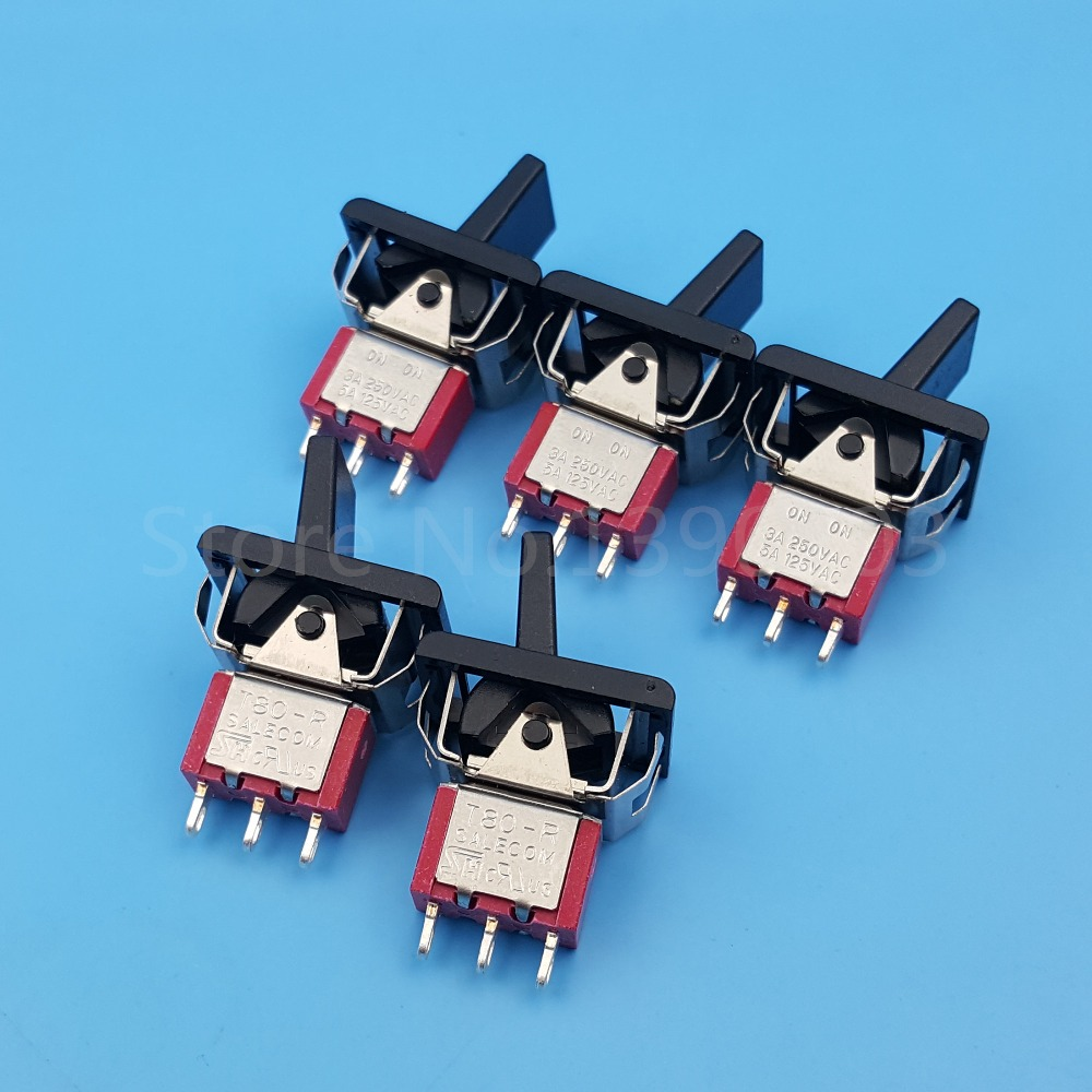 5Pcs T80-R 3Pin 2Position ON-ON Locking Mini Paddle Toggle Switch 3A/250VAC mitsubishi 100% mds r v1 80 mds r v1 80