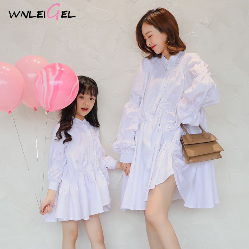 WLG family matching clothes mother daughter dresses spring autumn solid white black ruffle dressWLG family matching clothes mother daughter dresses spring autumn solid white black ruffle dress