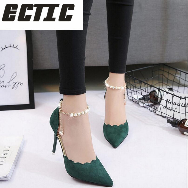 ECTIC High-heeled shoes female fashion hollow with sandals summer Korean version of the thin breathable shoes women Pumps YA-10