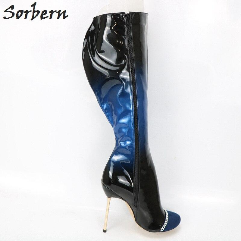 Tacones Rodilla Para Azul Pierna Ronda Botas Metal Mujer Cadena Sorbern Negro Tacón Ancho custom Color Zapatos Y La De Azul Altas Gradiente Alto w0IxgfqTg