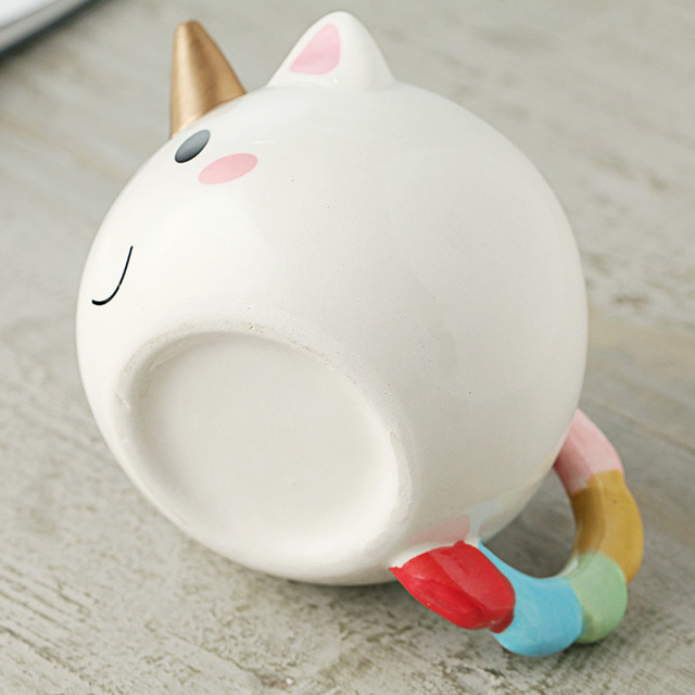 300ml 3D Unicorn Mug Creative Ceramic Coffee tea Cup Cute Cartoon Unicorn Mugs Novelty gifts Porcelain milk Cup for office 3