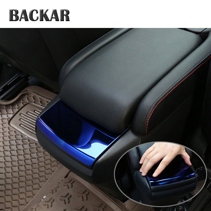 BACKAR Auto Car Styling Modified Stainless Steel Stickers For Honda Civic 10th 2016 2017 Armrest Box Sequins Covers  Accessories Motor Vehicle Cup Holders