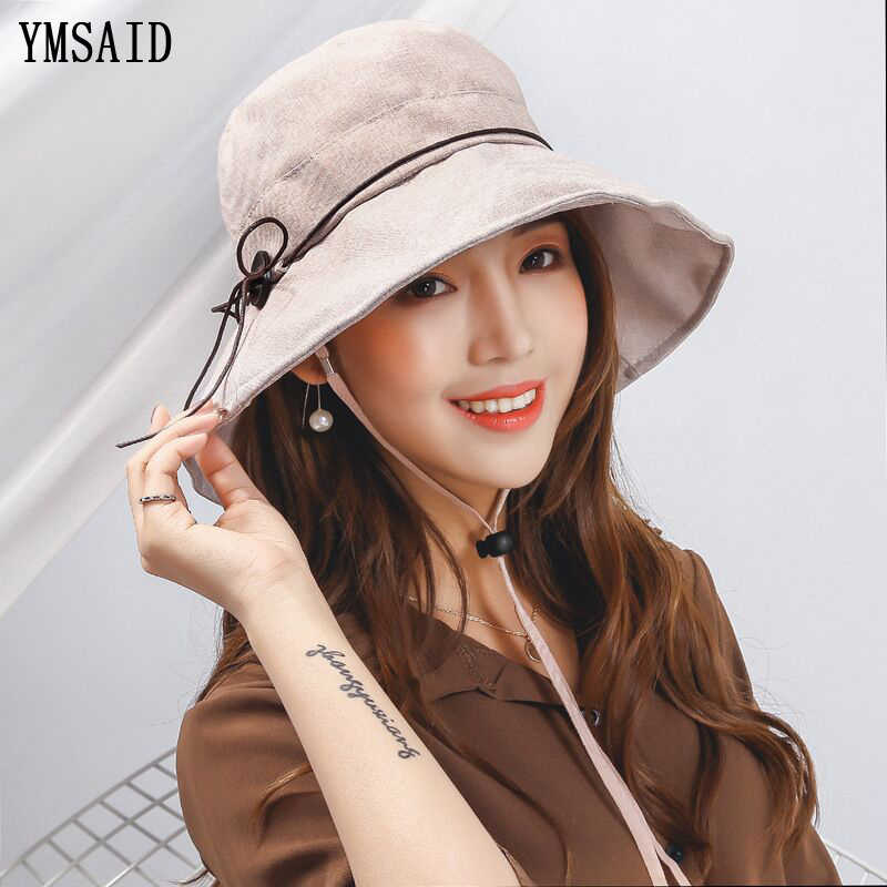 2c799772e53 Ymsaid 2018 Elegant Sun Hats Flower Foldable Butterfly Knot Wide Brim  Floppy Summer Hats Women Outdoor